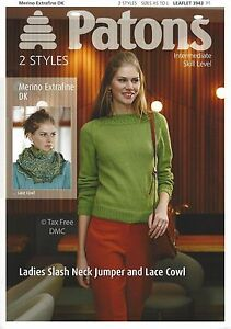 8d7661f1c VAT Free Knitting PATTERN ONLY Patons DK Ladies Jumper   Lace Cowl ...