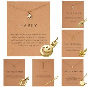 Charm-Smiley-Sun-Necklace-Pendant-Clavicle-Chains-Choker-Card-Women-Jewelry-Gift