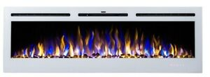 2021 50 INCH INSET LED FLAMES WHITE GLASS TRUFLAME WALL MOUNTED ELECTRIC FIRE