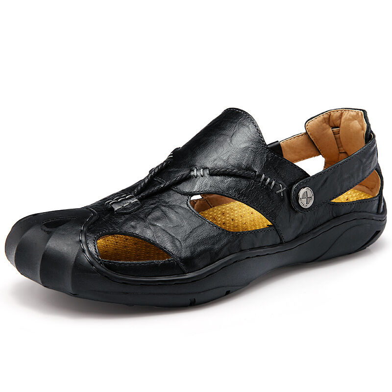 Mens Genuine Leather Sandals Closed Toe Non Slip Outdoor Casual Shoes Plus Size