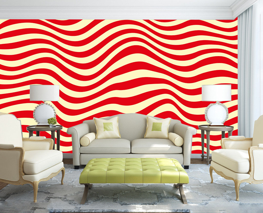 3D Red Wavy Stripes 852 Wall Paper Wall Print Decal Wall Deco Wall Indoor Murals