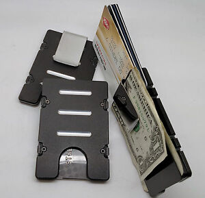 Mens Aluminum Credit Card Holder RFID Protection Wallet Black Anodized