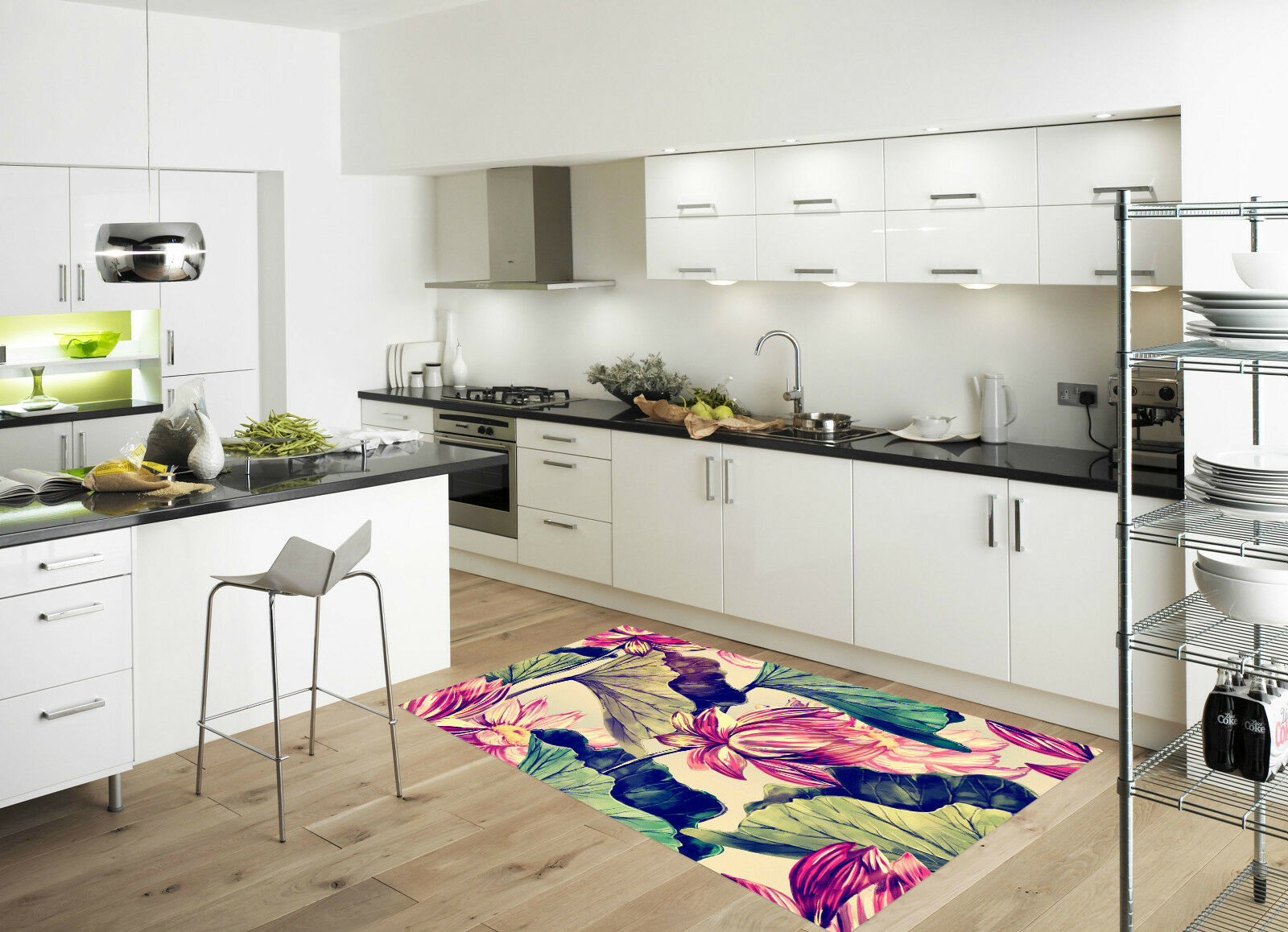 3D Lotus Painting Kitchen Mat Floor Murals Wall Print Wall Deco AJ WALLPAPER CA