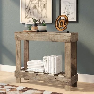 Console Table Rustic Wood Entryway Sofa Accent Reclaimed Farmhouse Style 766210332941 Ebay