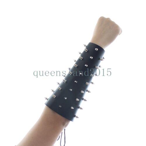 Bondage Restraint Leather Spiked Arm Bracer Punk Gauntlet Gladiator Wristband