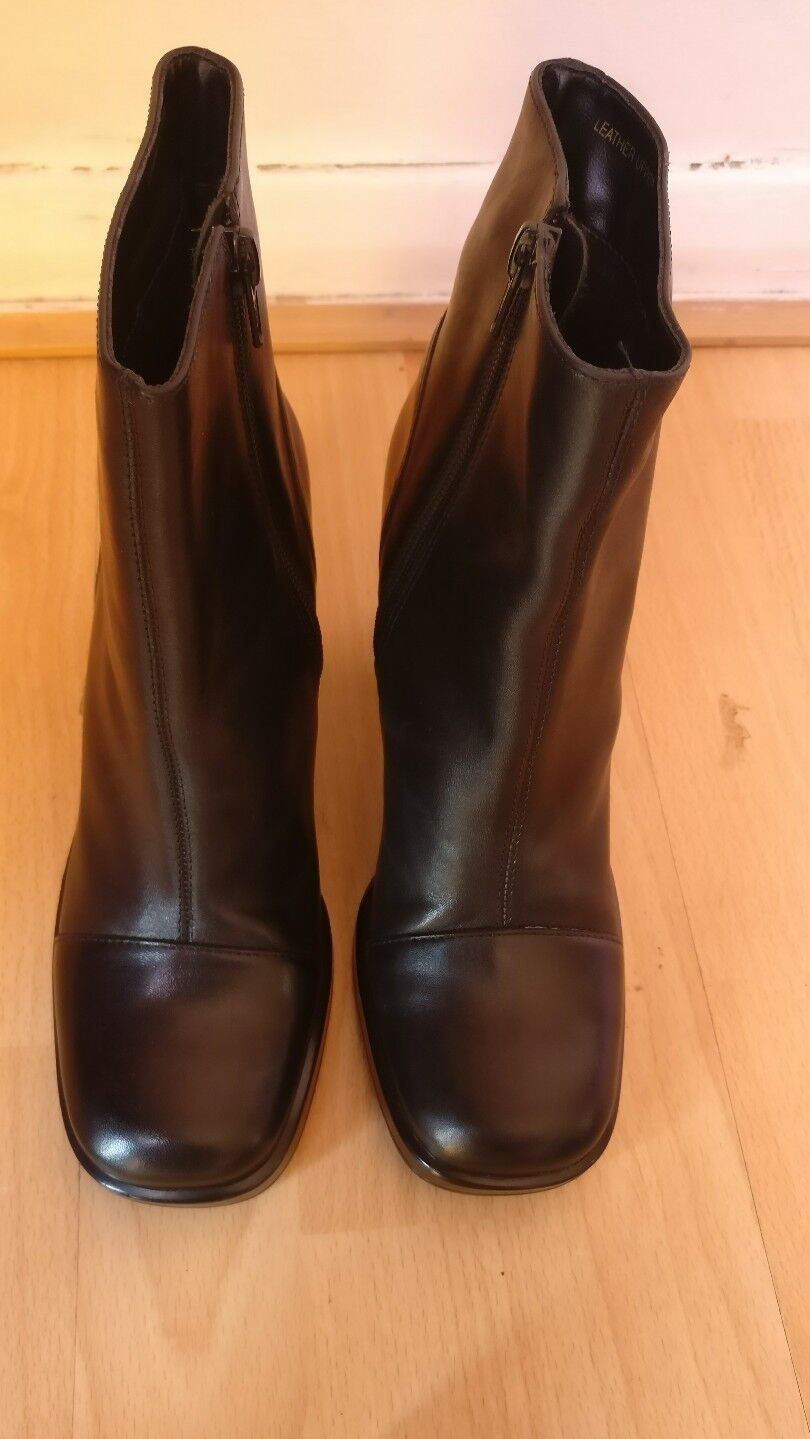 BAKERS WOMENS BLACK LEATHER BLOCK HIGH HEEL ANKLE BOOTS SHOES SIZE UK 4.5 NARROW