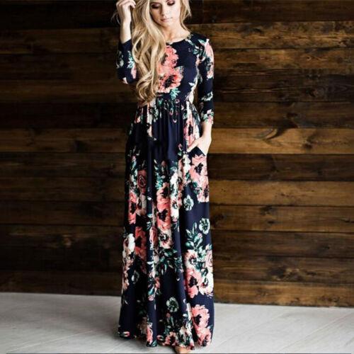 Damen Mode Vintage Blumen Maxikleid Partykleid Strand Langarm Pocket Sommerkleid