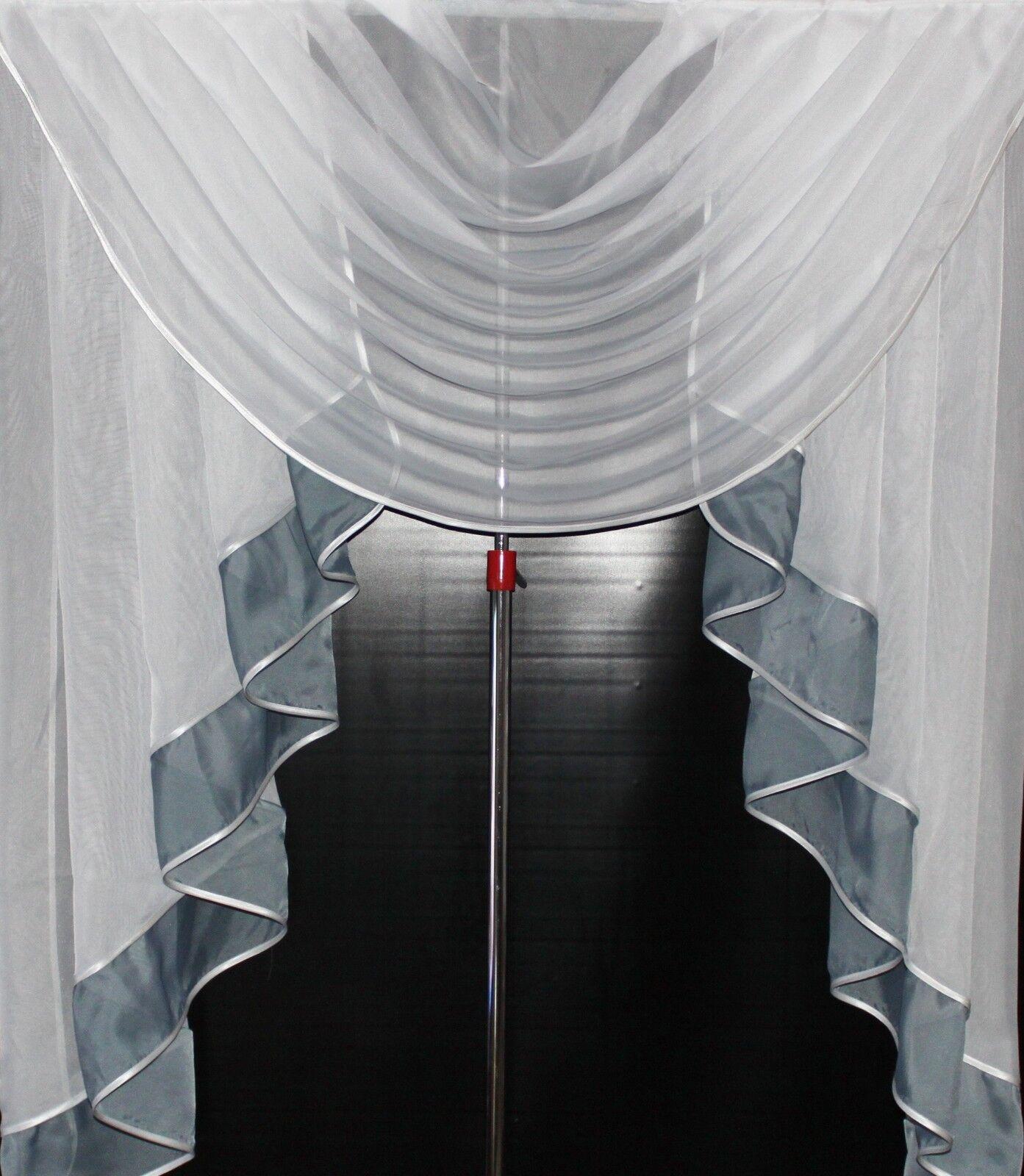 Deko - Gardine, Store, Vorhang in der Farbe grau   Weiß
