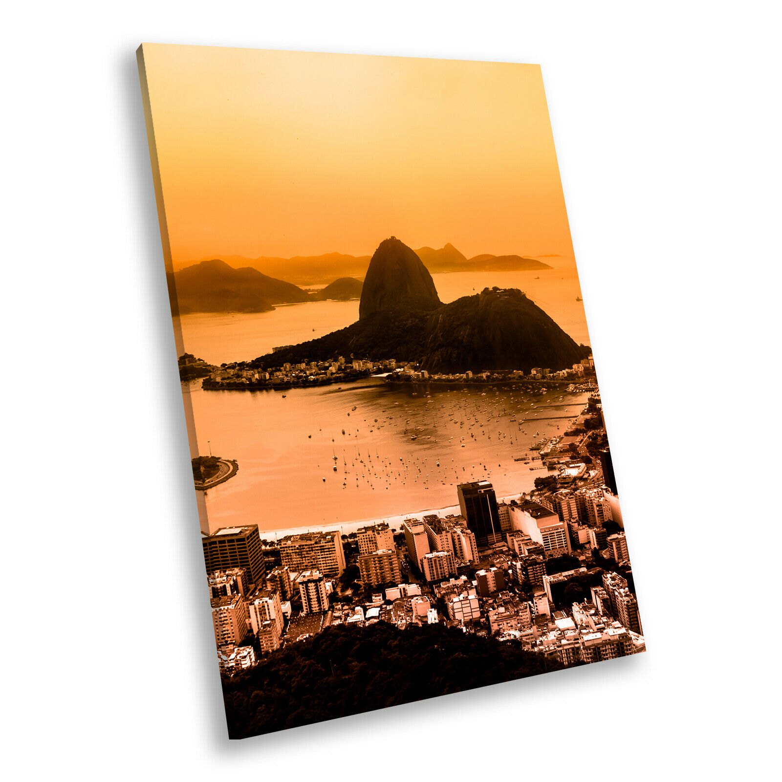 Orange Beach City Skyline Portrait Scenic Canvas Framed Art Large Picture