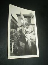 social history 1930's muscle dad bare chest with child garden photograph 4'inch