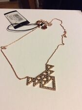 House Of Harlow Rose Gold Triangle Crystal Pave Tessellation Necklace HH-41