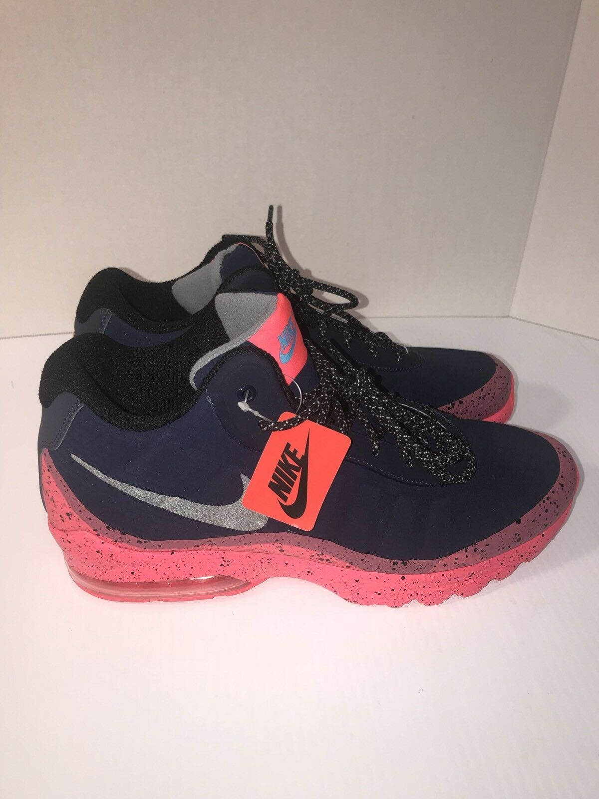 Men's Nike Air Max Invigor Mid Shoe 858654-401 OBSIDIAN/BLACK-SOLAR RED Sz 11.5