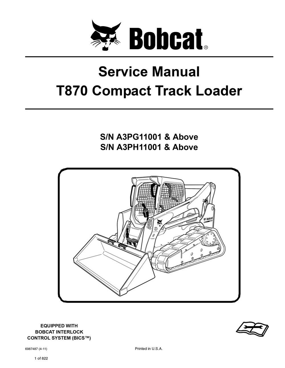 Bobcat T870 Track Loader Service Manual Shop Repair Book Part 1 Number # 6987487 for sale online