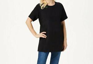 Denim-amp-Co-Jersey-Round-Neck-Elbow-Sleeve-Oversized-Tunic-Black-X-Large-Size