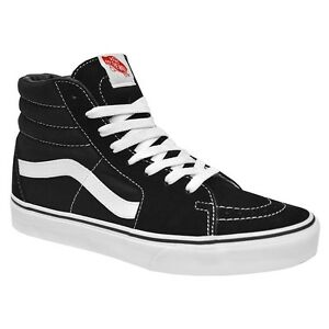 Vans Classic SK8 Hi Top Black White Fashion Mens Womens Shoes All ... 487408e9b
