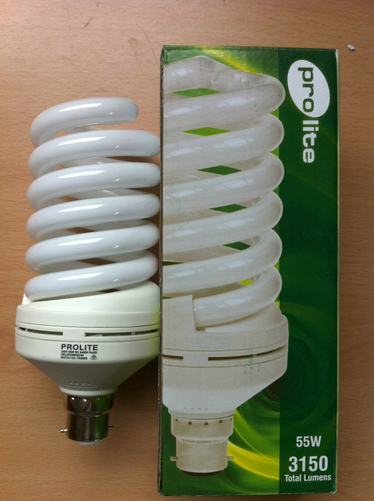 55w watt BC B22 Push In Energy Saving Spiral CFL Daylight 6400k Bulb x 4