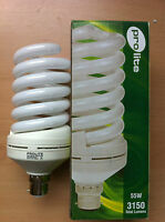 55w watt BC B22 Push In Energy Saving Spiral CFL Daylight 6400k Bulb x 1