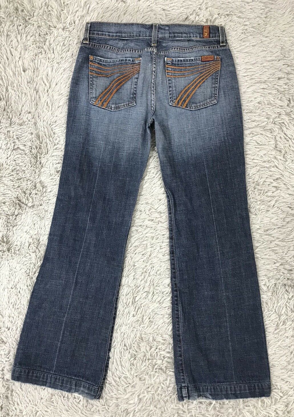 7 FOR ALL MANKIND DOJO WOMENS JEANS Medium 29 (29x29) Flare orange Stitch