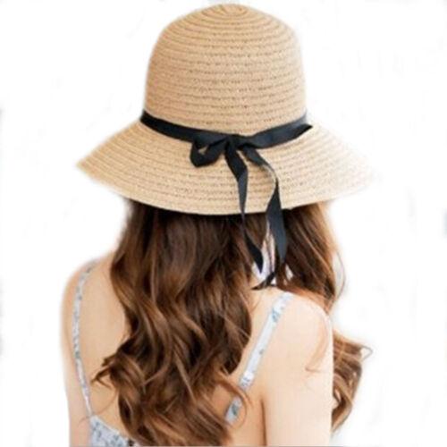 Floppy Foldable Ladies Women Straw Beach Sun Summer Hat Beige Wide Brim Summe LD