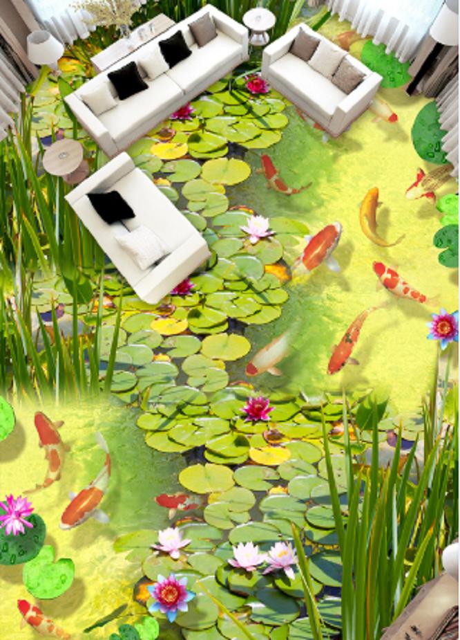 3D Summer Pond Fish 44 Floor WallPaper Murals Wall Print Decal AJ WALLPAPER