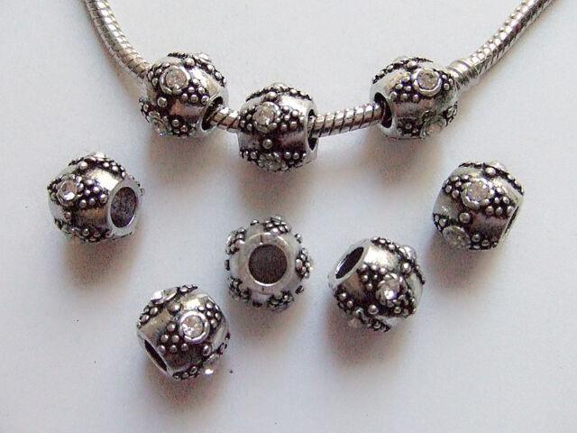 2pz  distanziali spacer beads + strass 11x9mm colore tibet, bianco