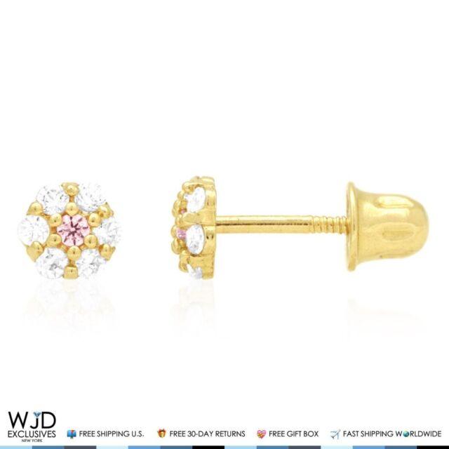 14k Yellow Gold Diamond And Pink Topaz Flower Screwback Stud Earrings 0.50Ct