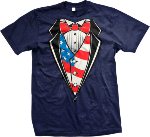 American USA Tuxedo Classy Formal Suit Flag Snazzy Stylish Mens T-shirt
