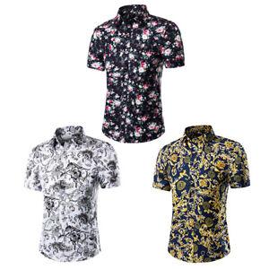 Men-039-s-Short-Sleeved-Shirt-Korean-Casual-Floral-Shirt-Summer-Beach-Blouse-Tops