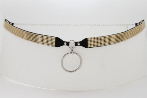 Women High Waist Hip Fancy Fashion Belt Gold Mesh Silver Metal Ring Charm M L XL