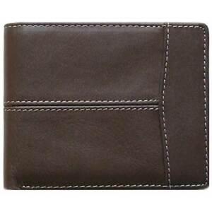 Classic Bi-Fold Brown Genuine Leather Wallet ID Credit Card Holder LAZIO