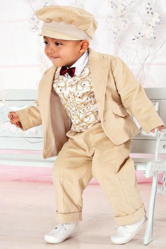 ABITO vestito BATTESIMO VELLUTO beige chiaro BATTESIMO tg 2 mesi-3 anni cod 1279