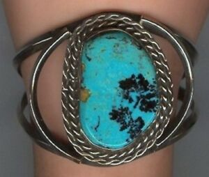 Older-Sterling-Silver-Cuff-Bracelet-with-Large-Free-form-Turquoise-Cabochon
