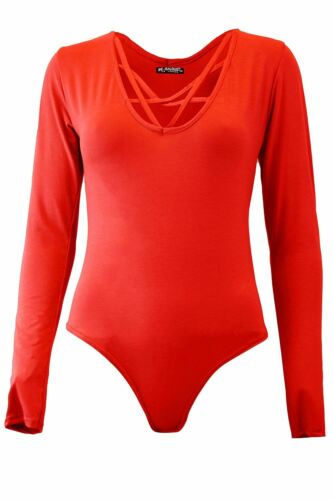 New Womens Ladies Cross Over V Strap Long Sleeve Round Neck Leotard Bodysuit Top