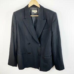 Vintage Giorgio Armani Womens Size 14 Blazer Jacket Wool Double Breasted Black