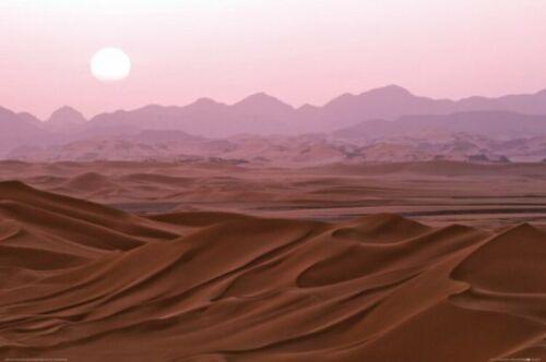 Wüsten Sonnenuntergang Sahara Sand Dünen Abend Poster Plakat #68514 120x80cm