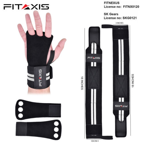 3 holes Wraps crossfit Weightlifting Deadlifitng Power-lifting Grip Palm Gloves.