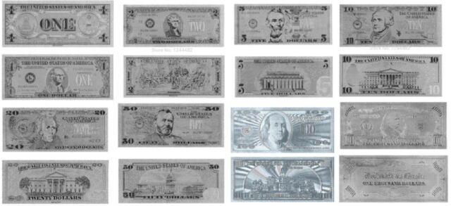 LOTE BILLETES DOLLAR $ PLATA SILVER COLECCION COMPLETA NEW MINT!!!