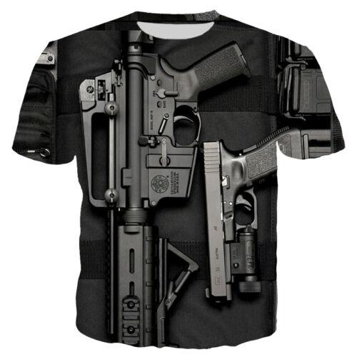 Funny Games Gun Harajuku Women Men T-Shirt 3D Print Short Sleeve Tee Tops