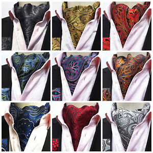 Black Silver Gold Red Blue Grey Purple Paisley Silk Blend Cravat ... 73cfa7115f4