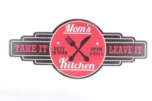 """Blechschild /""""Mom`s Kitchen/"""" Küche Bar Diner Kneipe Pub 50s 50er 26,5x61cm neu"""