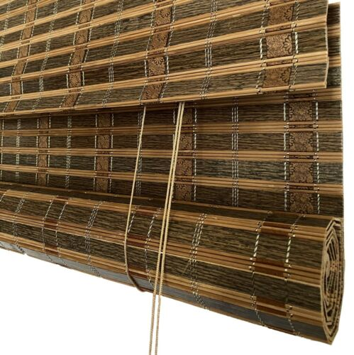 Light Filtering Sun Shade with Valance-Toffee THY Bamboo Roll Up Window Blinds