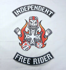 Independent Free Rider Biker Large Back Patch and Rockers New 3 Piece Set