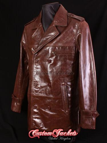 Men/'s MOBSTER Brown Lambskin Mid-Length Real Leather Reefer Jacket Coat 9060