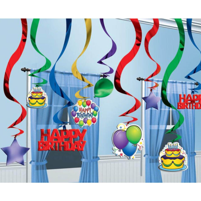 25 Bright Balloons Happy Birthday Party Hanging Cutouts Foil Swirls Decorations