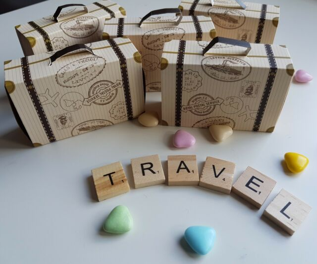 5 Vintage Style Mini Suitcase Favour Bo Travel Themed Wedding Sweets Candy