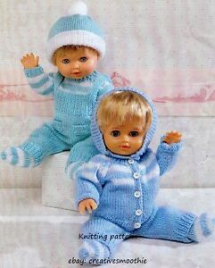 Knitting Pattern for Doll/'s Pram Set 47 Sweater Cardigan Dungarees Hat Socks