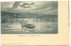 D RÜDESHEIM, ca. 1900 ungebr. s/w Mondschein-AK RÜDESHEIM vom Rhein gesehen - Bavaria / Bayern, Deutschland - D RÜDESHEIM, ca. 1900 ungebr. s/w Mondschein-AK RÜDESHEIM vom Rhein gesehen - Bavaria / Bayern, Deutschland