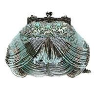 Mary Frances Marie Antoinette Mini Blue Silver Grey Beaded Handbag Purse Bag New