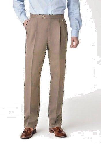 New Pants Sansabelt 4-Seasons Flat Washable Wool-blend Beige MSRP- 44