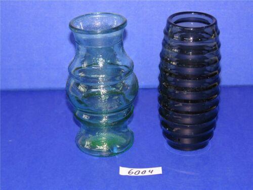 2 x DDR Glas Vase Pressglas H ca 16,5 cm Blumenvase Tischvase farbig